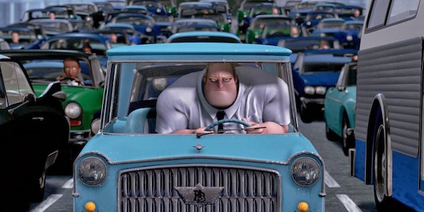 Bob Parr stuck in traffic in The Incredibles