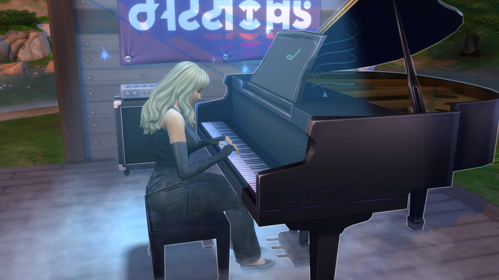 A Sim version of Bebe Rexha plays the piano on stage, under a spotlight.