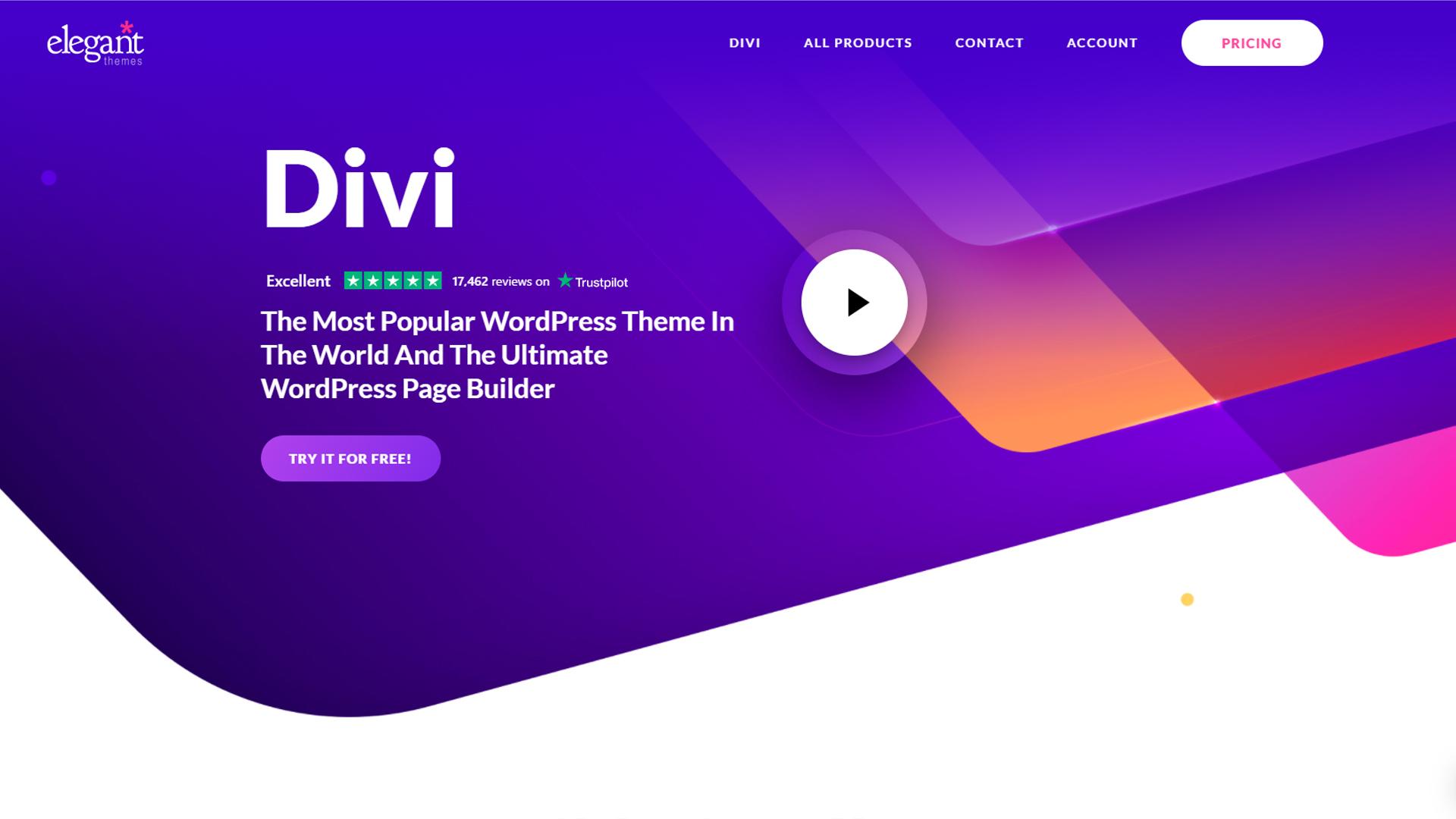 Divi's homepage