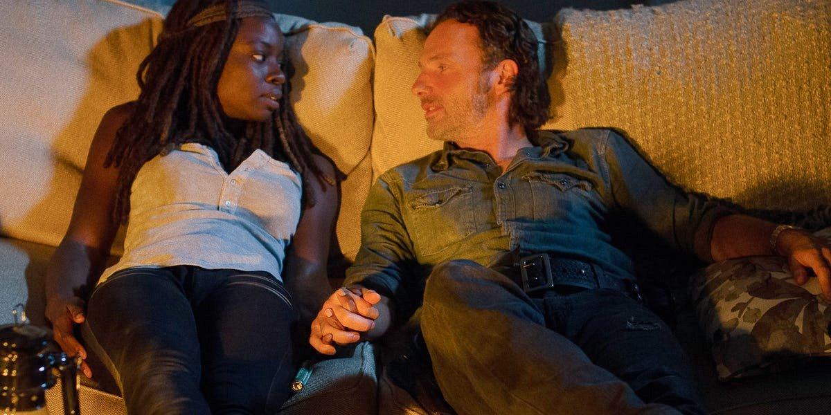 Rick and Michonne in The Walking Dead.