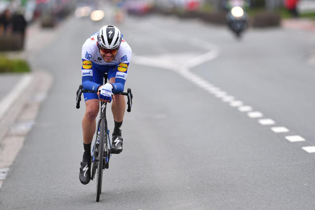 Kasper Asgreen en route to victory at the 2020 Kuurne-Brussel-Kuurne.