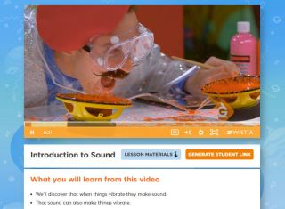 Still image from Introduction to Sound video with man wearing protective gear while orange substance becomes airborne.