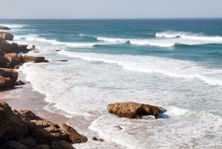 Big waves in a surfing beach, Tamri beach in Morocco, Africa.