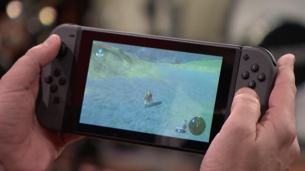 Zelda being played on an original Nintendo Switch