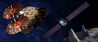 (Left) Artist's illustration of the Lucy spacecraft flying by the Trojan asteroid Eurybates. Trojans are fossils of planet formation and so will supply important clues to the earliest history of the solar system. (Right) Psyche, the first mission to the m