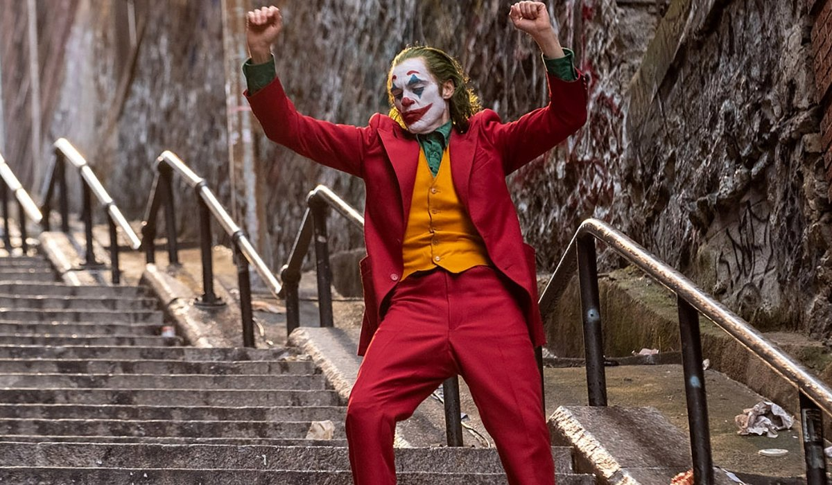 Joker dancing on the stairs