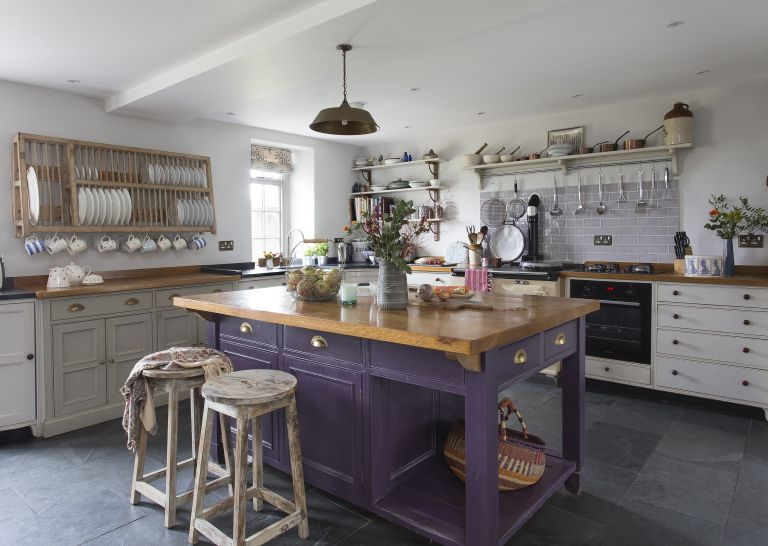 purple kitchen island in farmhouse kitchen