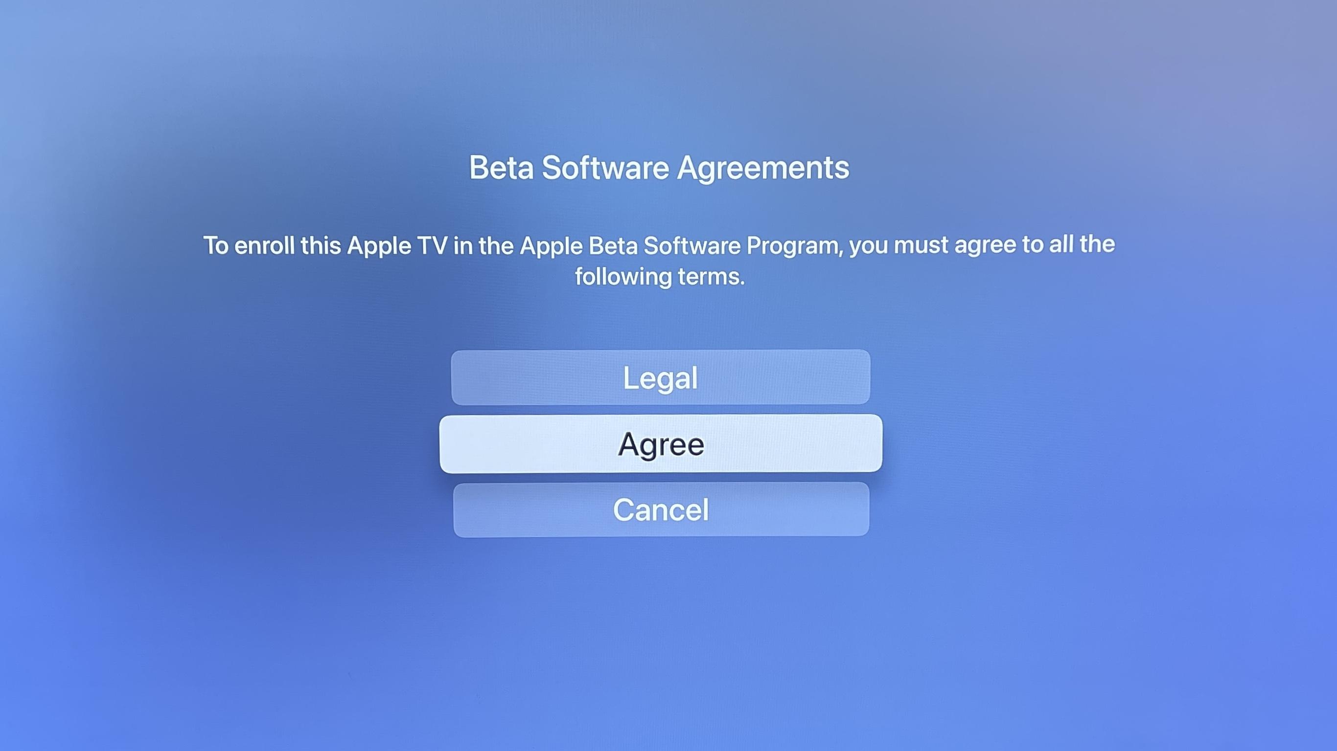 Hoe tvOS 15 beta te downloaden Algemeen Stap 6: Selecteer OK