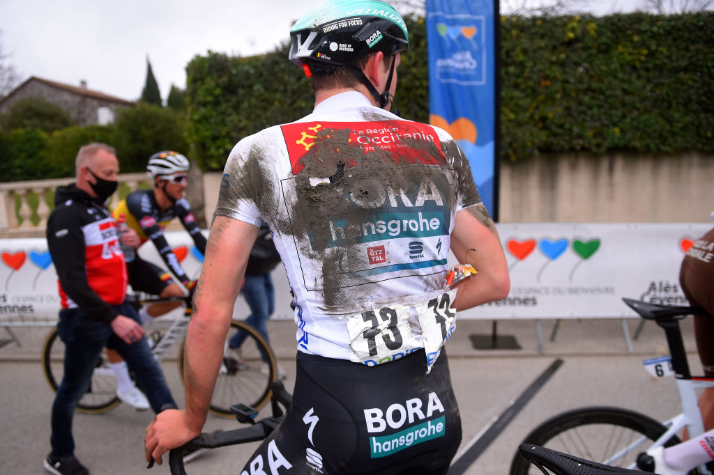 LA CALMETTE FRANCE FEBRUARY 04 Arrival Jordi Meeus of Belgium and Team Bora Hansgrohe White Best Young Jersey during the 51st toile de Bessges Tour du Gard 2021 Stage 2 a 154km stage from SaintGenis to La Calmette Crash Injury Mud EDB2020 on February 04 2021 in La Calmette France Photo by Luc ClaessenGetty Images