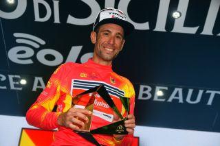 Vincenzo Nibali in the Giro di Sicilia winner's jersey