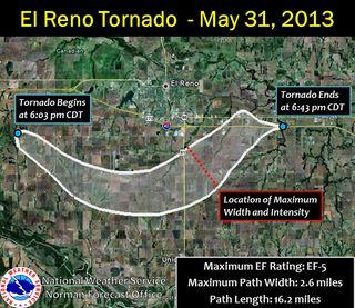 Path of the El Reno, Okla., tornado