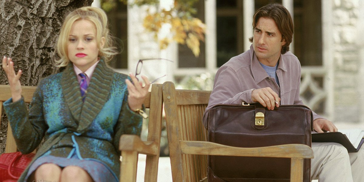 Legally Blonde, Reese Witherspoon and Luke Wilson as Elle Woods and Emmett