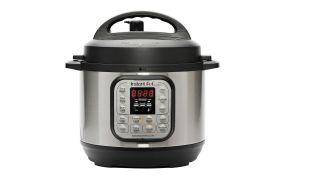 Grey metal instant pot with silver buttons