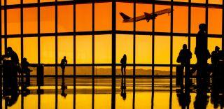 Airport terminal, airplane take off