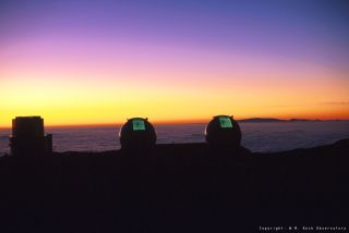 Keck I and II Domes at Sunset
