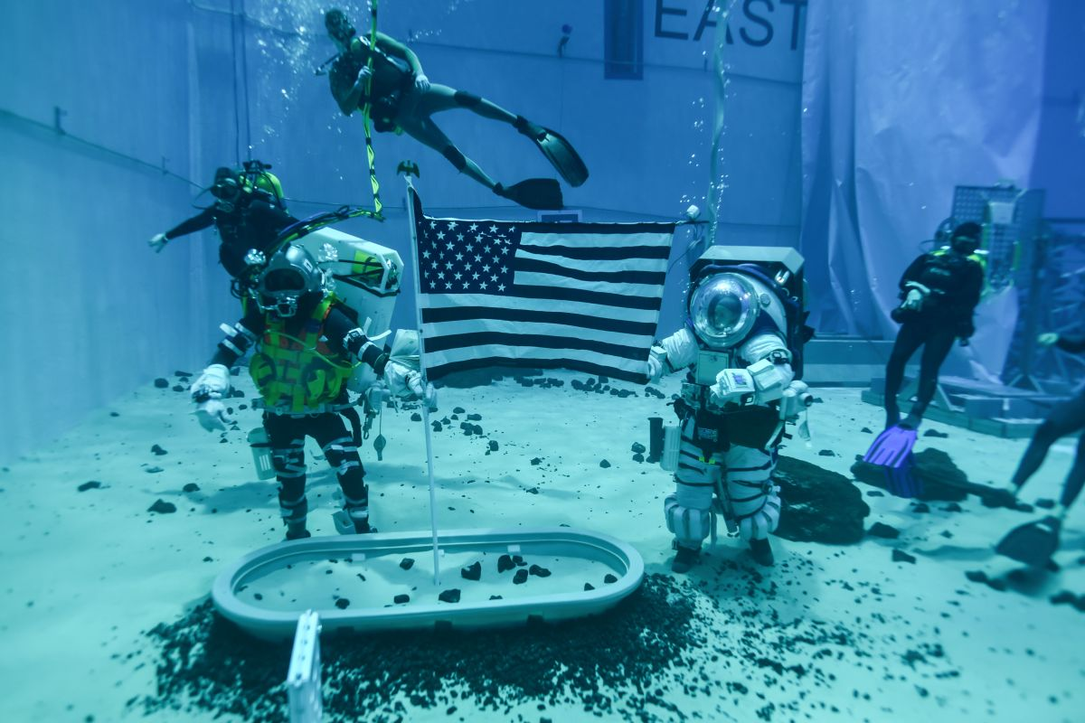 NASA is testing the first of its new moonwalking spacesuits