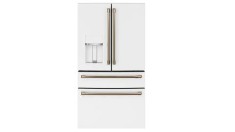 Cafe CVE28DP4NW2 French door refrigerator review: image of white French door refrigerator with gold accents on the handles