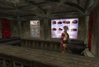A dark elf serves burgers in a Morrowind mod