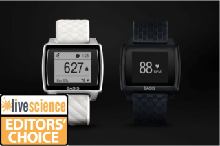 The Basis Peak fitness tracker, shown in white and black