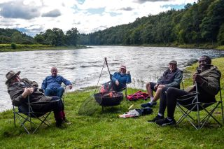 Fishing Scotland's Lochs and Rivers with (from left), Rosemary Shrager, Les Dennis, Fern Britton, an Botham and Linford Christie.