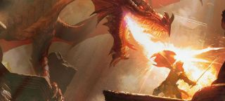 An adventurer thwarts the hot jet of fire from a dragon