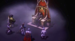 The protagonist sitting on a throne