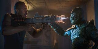 Mehcad Brooks and Joe Taslim in Mortal Kombat