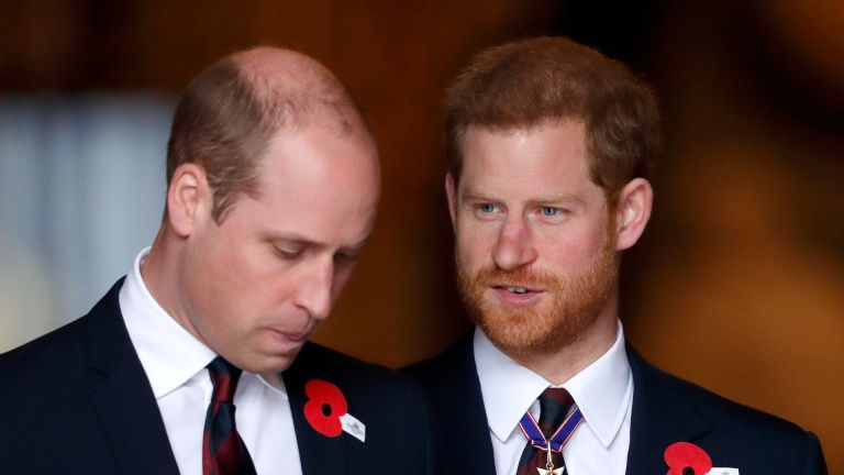 Prince William, Duke of Cambridge and Prince Harry attend an Anzac Day Service of Commemoration and Thanksgiving at Westminster Abbey on April 25, 2018 in London