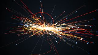 Particles colliding in the Large Hadron Collider