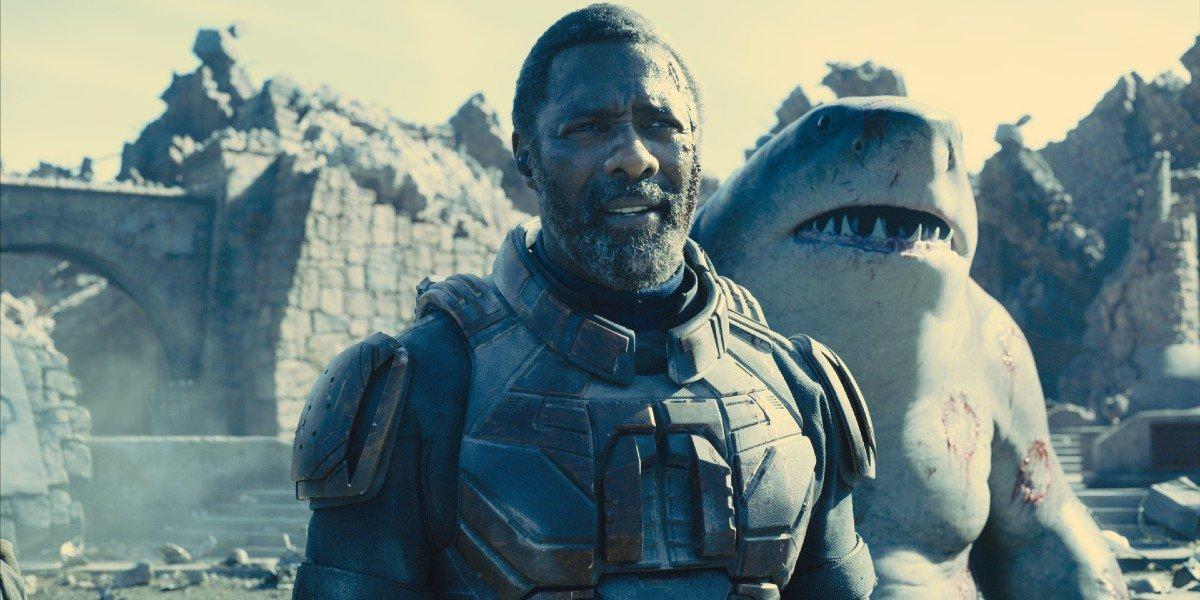 Bloodsport (Idris Elba) looks ahead in The Suicide Squad (2021)