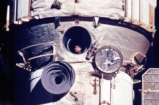 Polyakov on Mir During Record-Setting Mission