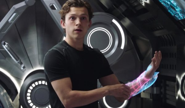 Spider-Man: Far From Home Peter works on a new suit with holographic imagery