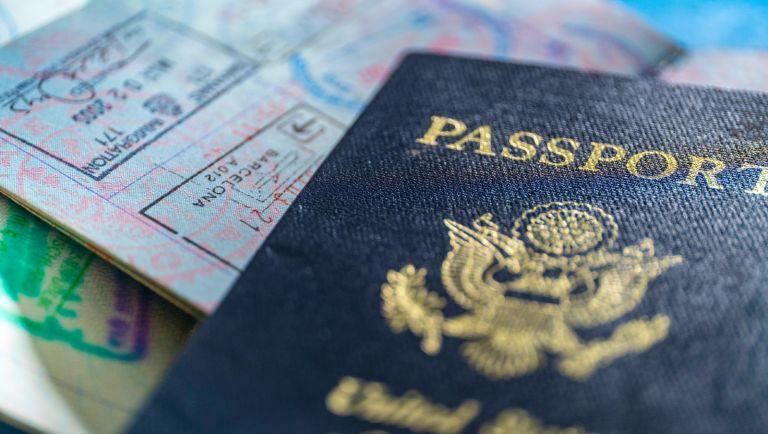 Close-up of American passport - stock photo