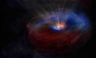 Artist's impression of the actively feeding supermassive black hole at the center of galaxy NGC 1068. The blue material represents the gas rotating toward us, while the red gas is moving in the opposite direction.
