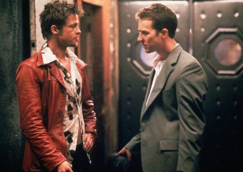 Fight Club - Brad Pitt's Tyler Durden bonds with Edward Norton's narrator in David Fincher's darkly comic film