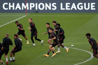 Bayern Munich's players attend a training session at the Luz stadium in Lisbon on August 13, 2020 on the eve of the UEFA Champions League quarter-final football match between FC Barcelona and Bayern Munich. (Photo by Manu Fernandez / various sources / AFP) (Photo by MANU FERNANDEZ/AFP via Getty Images)