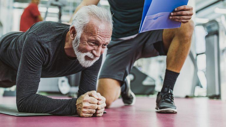 Older man doing plank