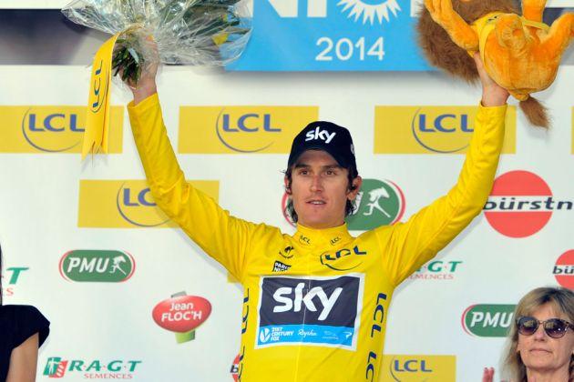 Geraint Thomas in race lead, Paris-Nice 2014, stage four