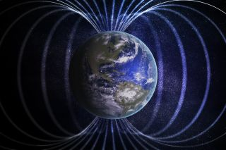 A representation of Earth and its magnetic field.