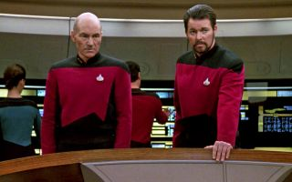"Patrick Stewart as Captain Jean-Luc Picard and Jonathan Frakes as Commander William T. Riker in the ""Star Trek: The Next Generation"" episode, 'The Hunted.' Season 3, episode 11. Original air date, January 8, 1990."