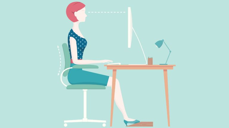 Good posture: illustration woman working at desk