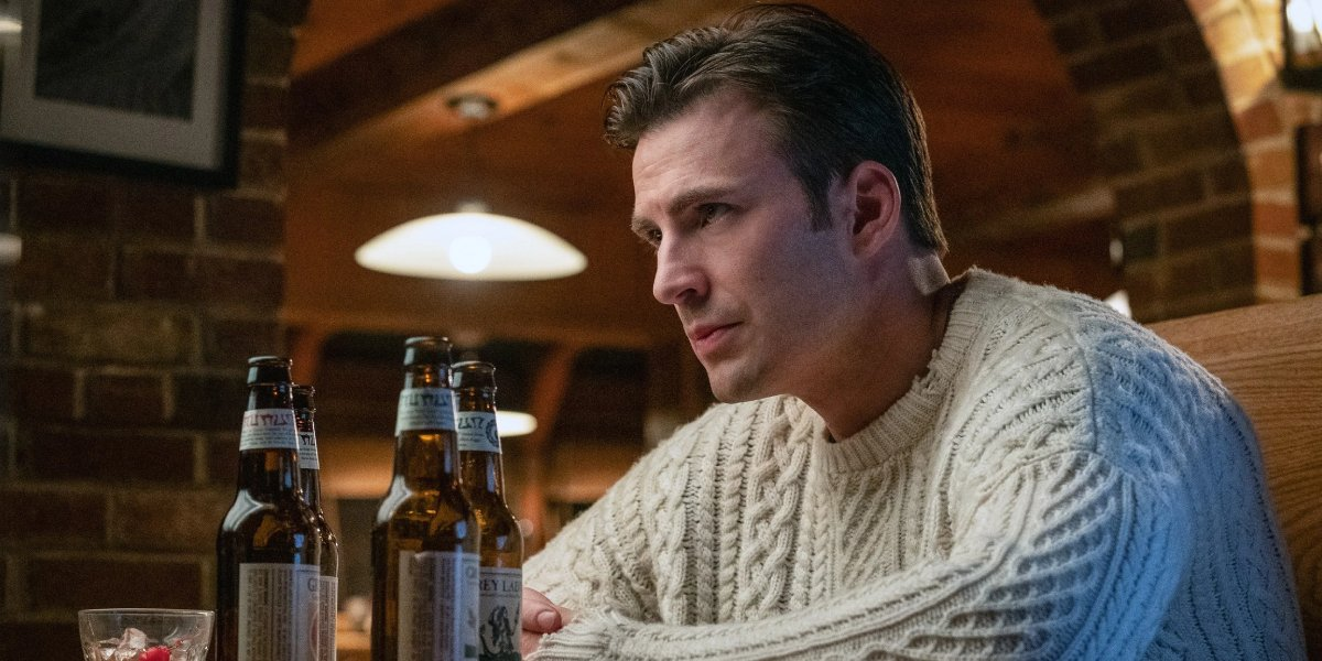 Chris Evans dons his iconic sweater from Knives Out