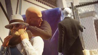 Hitman strangling a dude