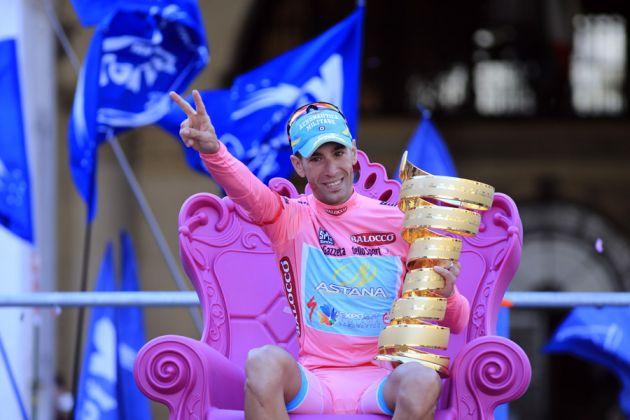 Vincenzo Nibali on the podium, Giro d'Italia 2013, stage 21