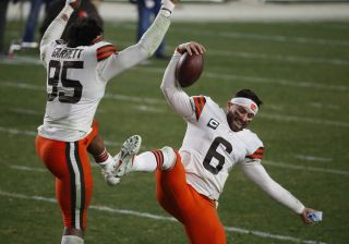 Cleveland Browns quarterback Baker Mayfield and defensive end Myles Garrett hope to have even more fun against the Kansas City Chiefs Sunday, Jan. 17.