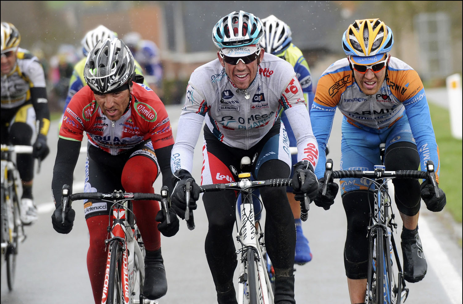 Luca Paolini, Leif Hoste and Tyler Farrar, Three Days of De Panne 2010, stage 2