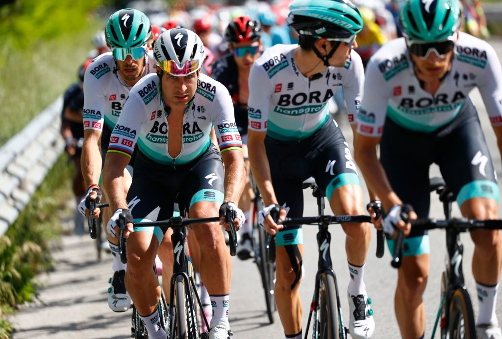 Team BoraHansgrohe rider Slovakias Peter Sagan L rides during the tenth stage of the Giro dItalia 2021 cycling race 139 km between lAquila and Foligno on May 17 2021 Photo by Luca Bettini AFP Photo by LUCA BETTINIAFP via Getty Images
