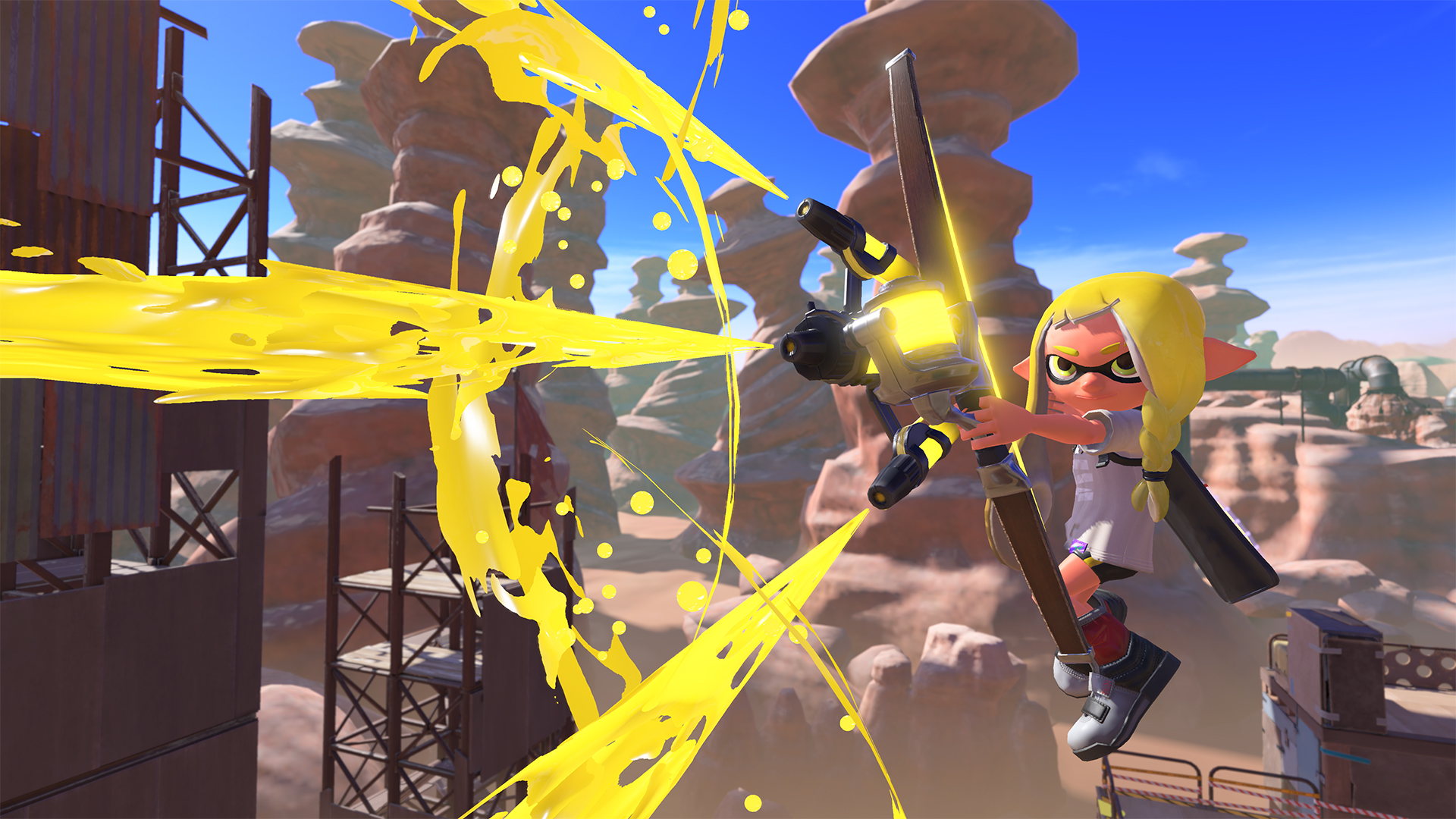 An Inkling fires off a shot from a new crossbow weapon in Splatoon 3