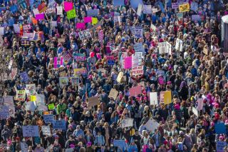 An aerial view of the Women's March on Jan. 21, 2017, in Los Angeles, California.