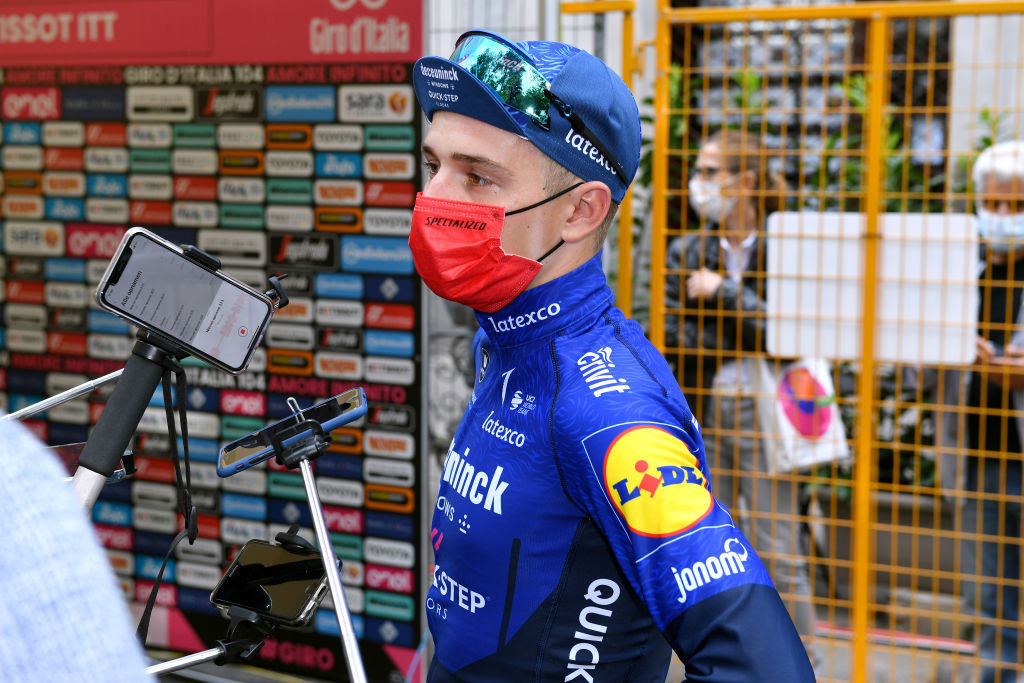 TURIN ITALY MAY 08 Remco Evenepoel of Belgium and Team Deceuninck QuickStep meets the press media at arrival during the 104th Giro dItalia 2021 Stage 1 a 86km Individual Time Trial stage from Torino to Torino Mask Covid safety measures ITT girodiitalia Giro on May 08 2021 in Turin Italy Photo by Tim de WaeleGetty Images